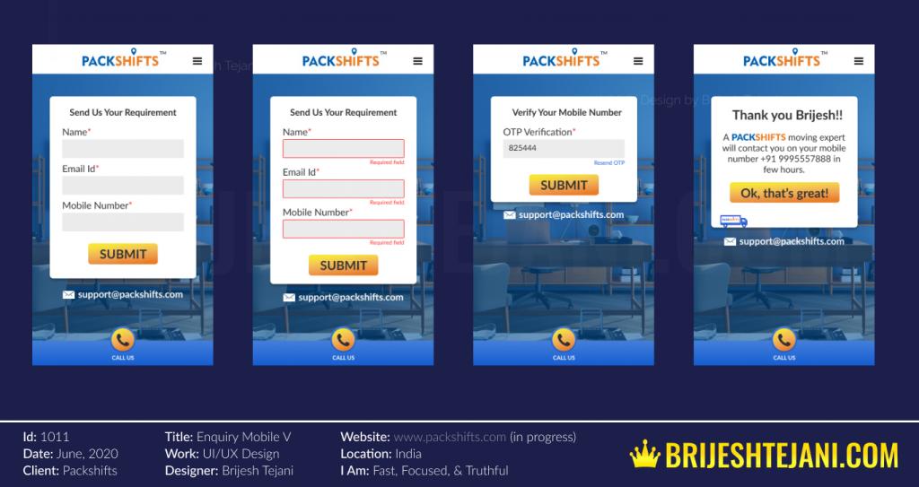 UI UX Design | Mobile Responsive Version for Packshifts | Design by Brijesh Tejani