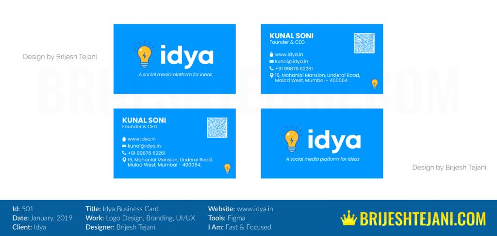 Business Card Design | Idya | Brijesh Tejani