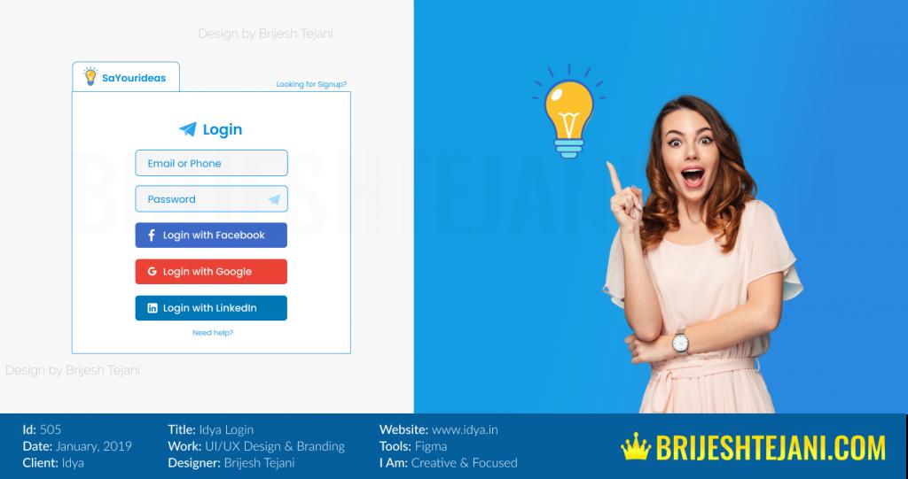 Login UI UX Design | Idya | Brijesh Tejani