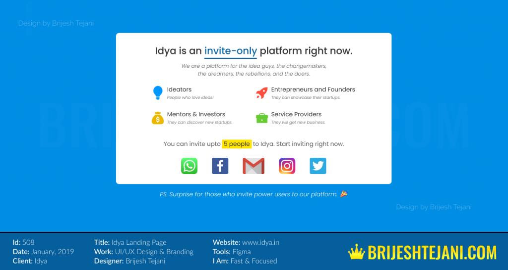 Invite Only UI UX Design | Idya | Brijesh Tejani