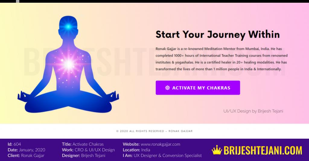 Activate Chakras | CRO | UI UX Design | Ronak Gajjar | Brijesh Tejani