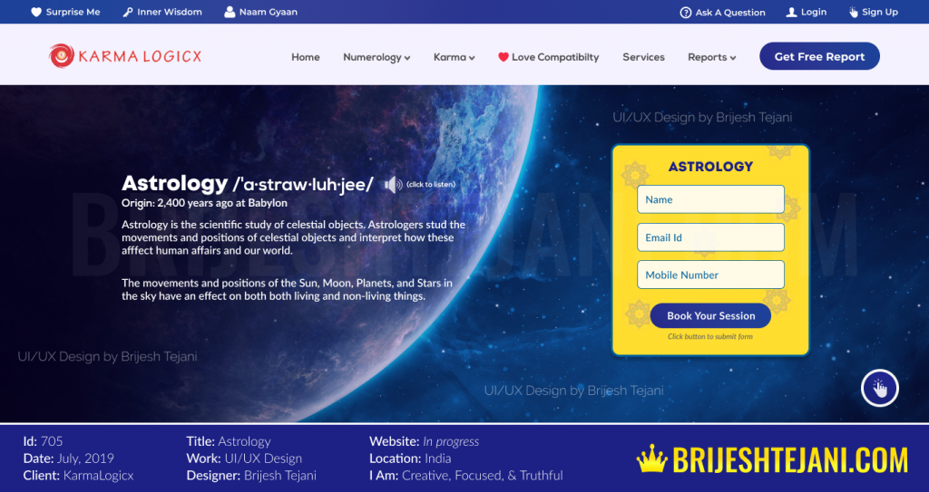 UI UX Design | Astrology | Design by Brijesh Tejani
