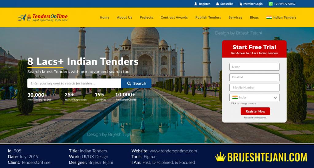 Indian Tenders | UI UX Design | Tenders On Time | Design by Brijesh Tejani