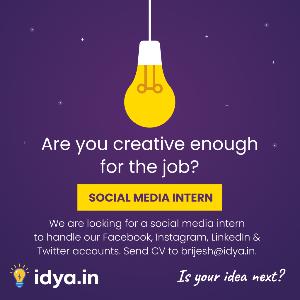 Social Media Intern Instagram Creative | Idya | Design by Brijesh Tejani