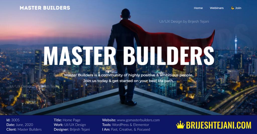 Master Builders Home | UI UX Design | Portfolio by Brijesh Tejani