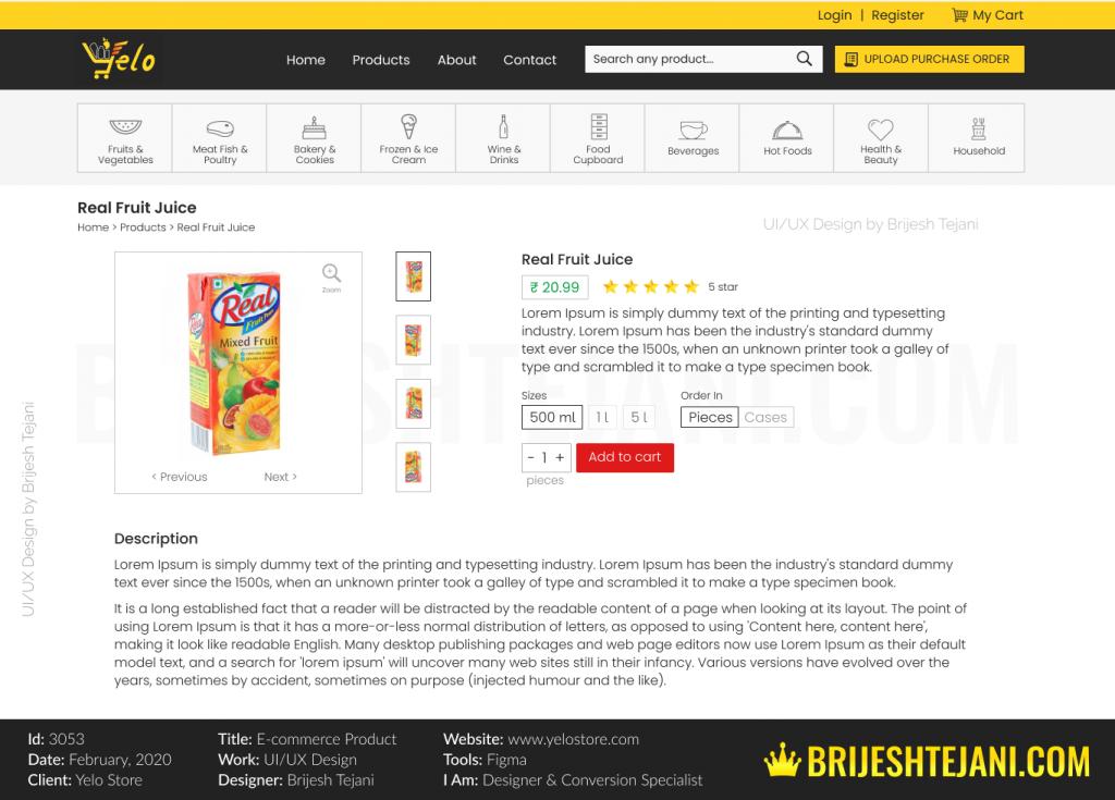 Yelo E-commerce Store | UI UX Design | Brijesh Tejani