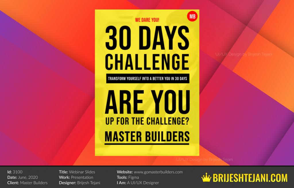 30 Days Challenge | Webinar PPT Design | Brijesh Tejani