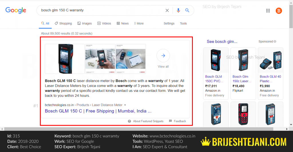 Featured Snippet Google Search SEO