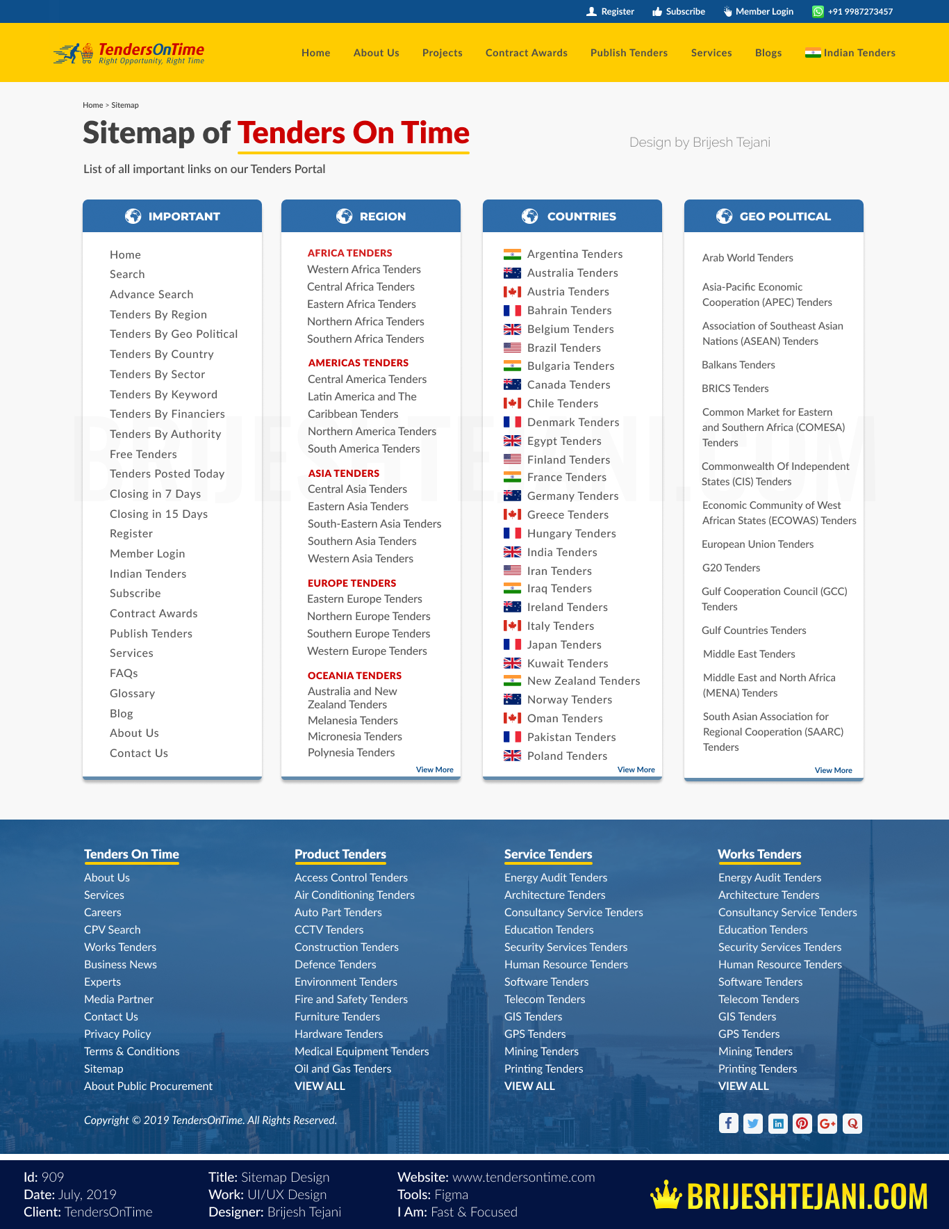 Sitemap of Tenders On Time | UI UX Design | Brijesh Tejani